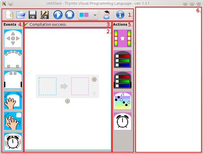Interface du logiciel VPL pour le thymio II