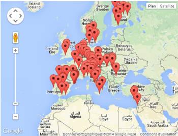 Karte mit allen Veranstaltungen Im Rahmen der europäischen Woche der Robotik