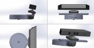 Views of the Kinect Depth camera sensor v1 and its support for Baxter robot motorised head mount