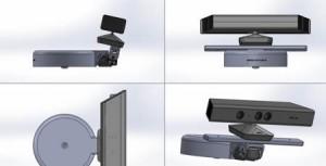 Kinect Tiefensensor-Kamera v1 mit Halter für den motorisierten Helm des Baxter Roboters