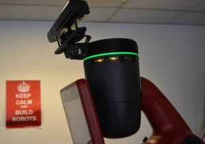Collaborative Baxter robot head mount with a motorised Kinect depth camera sensor