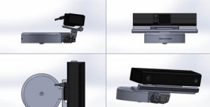 Views of the Kinect Depth camera sensor v2 and its support for Baxter robot motorised head mount
