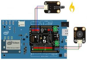 Intel Edison project: flame fire alarm