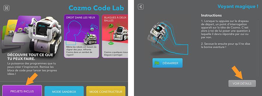 cozmo code lab mode constructeur modifier un projet