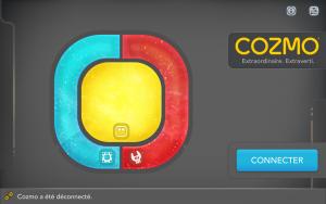 Application Cozmo - écran de connexion