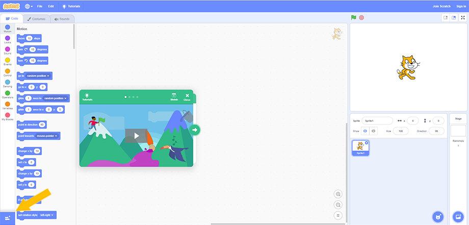 Ajouter l'extension Lego Mindstorms sur Scratch 3
