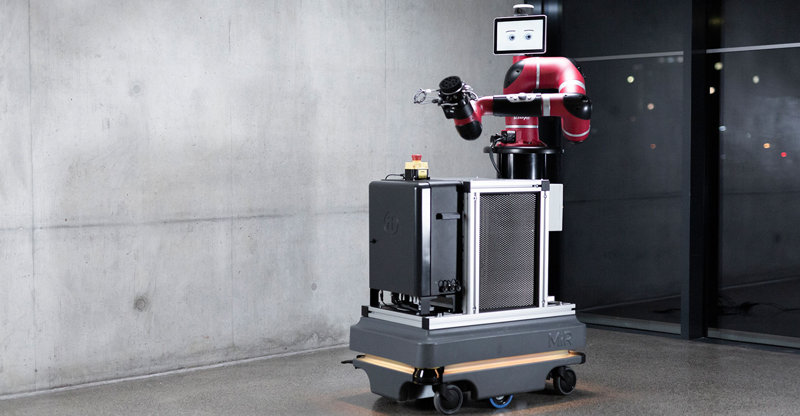 Sawyer robot arm on a mobile robot