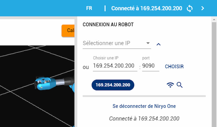 Connectez le bras Niryo One via Ethernet