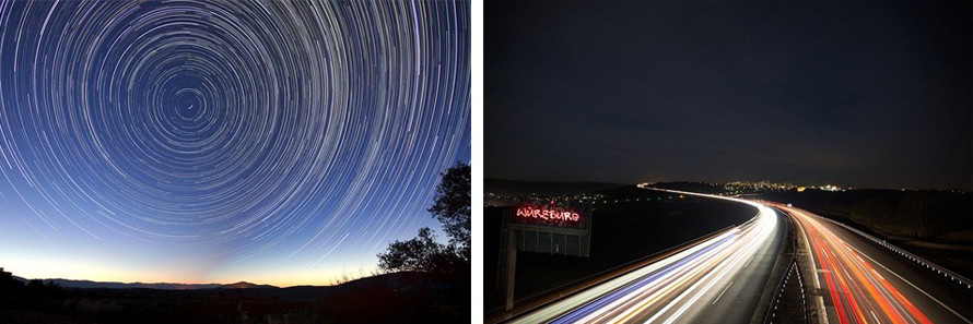 Exemple de light painting du ciel et d'une autoroute