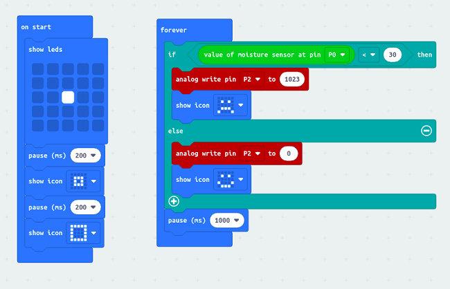 Programme pour un arrosage automatique fabriqué à partir d'une carte micro:bit