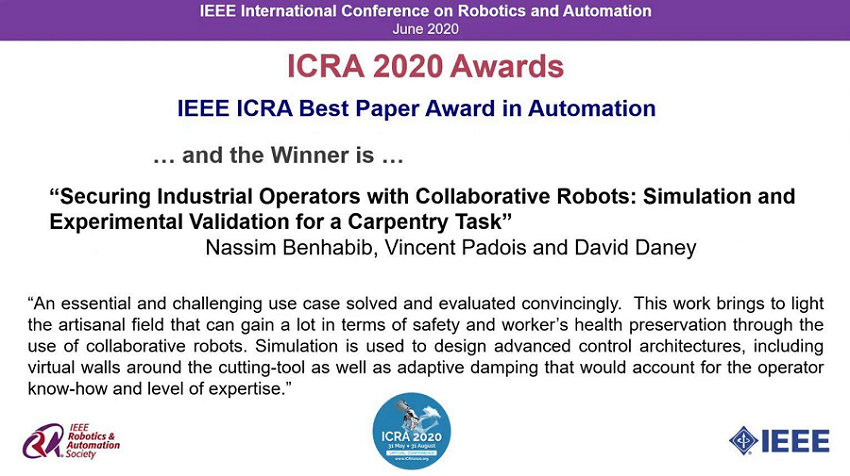 ICRA 2020 Award won by the Bordeaux - Sud-Ouest INRIA Research Centre
