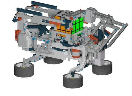 Robot résolveur de Rubik's cube : un exemple de projet possible avec LEGO Mindstorms combinant design, IA, vision et programmation.