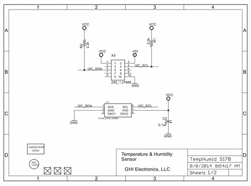 Technical schematic of the Gadgeteer TempHumid SI70 Module