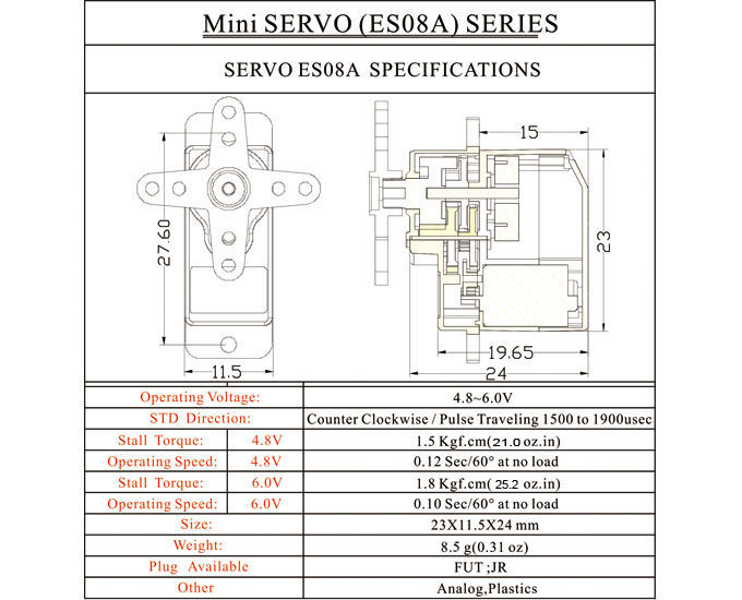 Technical specifications of the EMAX 9 g ESO8A High Sensitive Mini Servo