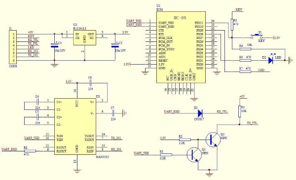 Schematic of the Bluetooth 3.3 V Serial Transceiver Module