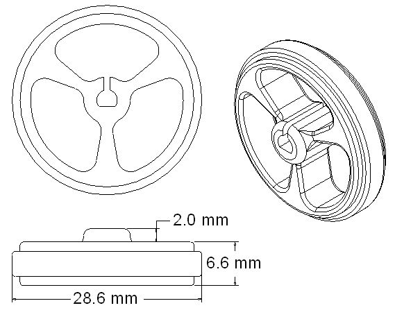Dimensions of the white 32 x 7 mm wheels for mobile robots