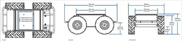 Les dimensions de la base mobile d'extérieur programmable Husky A200