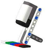 Positioning of the color sensor for programmable robot Lego Mindstorms NXT