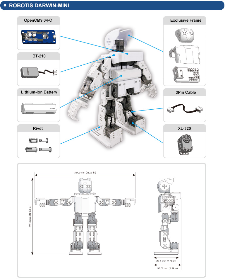 components and dimensions of the DARwin-Mini robot
