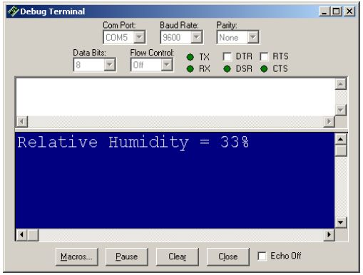 Standard output of a PBasic program with the humidity sensor