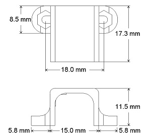 Dimensions of the mounting brackets for micro metal gearmotor
