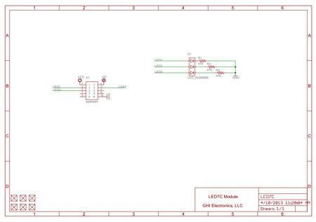 7-colour Gadgeteer Multicolour LED Module schematic