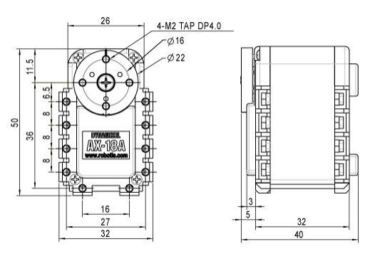 AX-18A Servomotor Technische Zeichnung