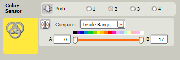 Parameter of the NXT-G block of the color sensor for Lego Mindstorms NXT