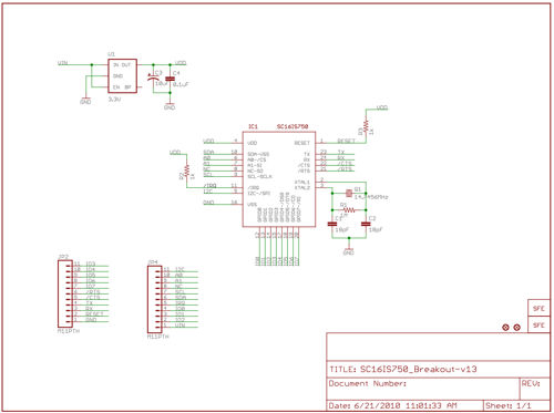 Technical schematic of the I2C/SPI-UART SC16IS750 Breakout Board