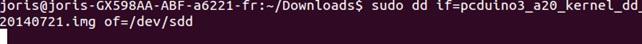 Das kernel Image wird auf das pcDuino3 gespeichert.