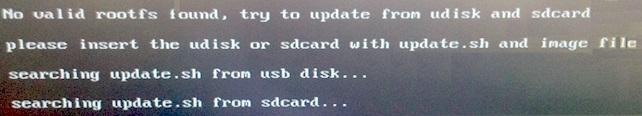 Les instructions apparaissent à l'écran pour vous indiquer le statut de la pcDuino3
