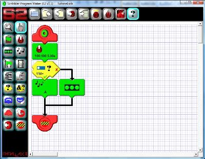 Implementing a simple condition in the programming software of the Scribbler 2 robot