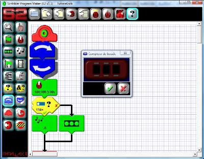 Loop tile settings window in the programming software of the Scribbler 2 robot