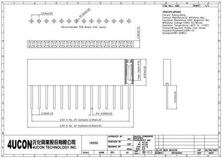 technische zeichnung 6-Pin-Steckverbinders für Arduino PRT-09280