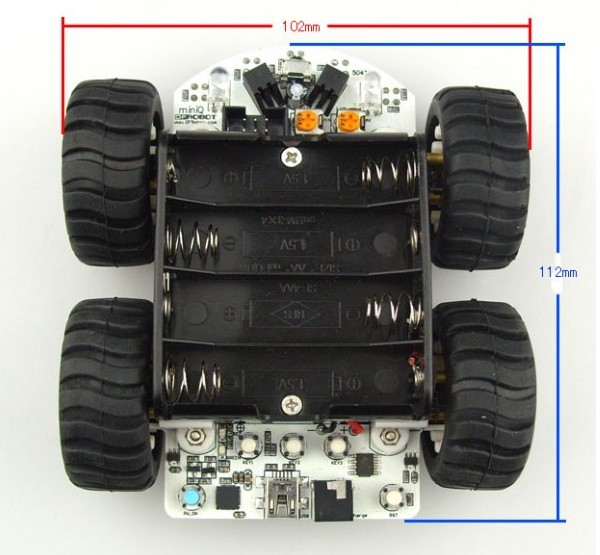 dimensions of the arduino compatible 4x4 miniQ robotics base