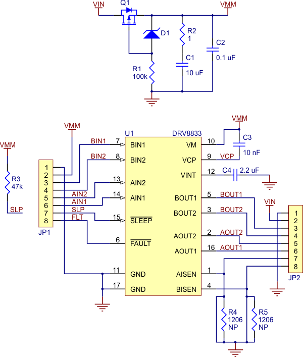 electrical diagram of the DRV8833 dual motor driver from pololu