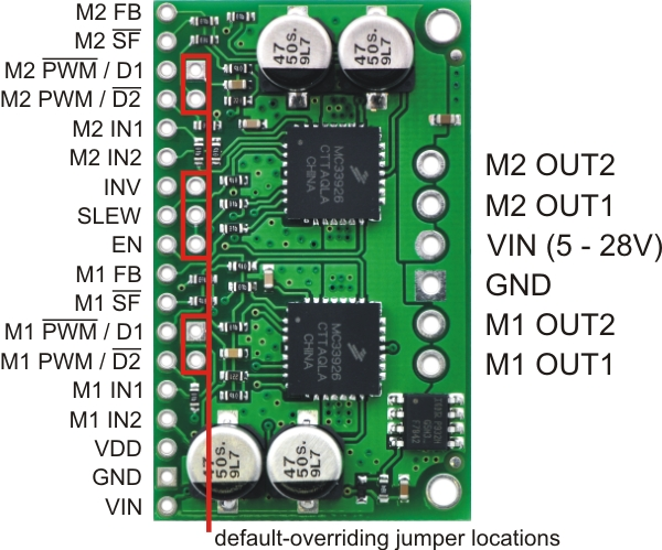 jumpers allow you to paramatrize your MC33926 dual motor driver from pololu