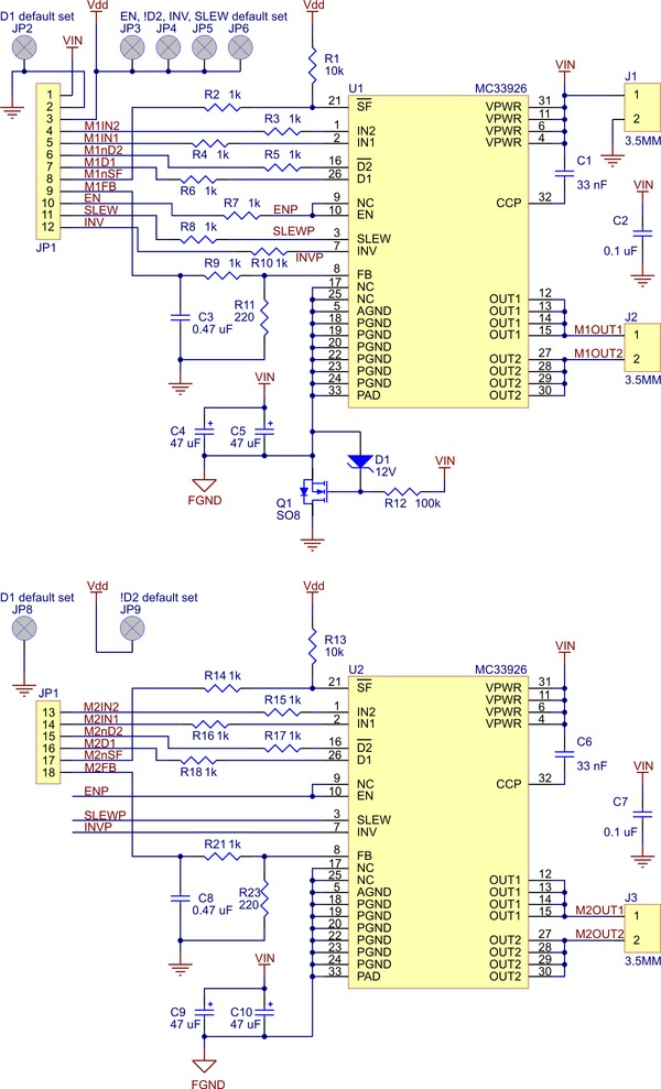 diagram of the MC33926 dual motor driver from pololu