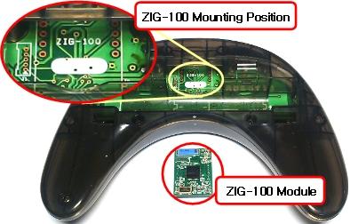 Emplacement de la carte zig-110 ou bt-100 sur la télécommande sans fil RC-100B pour Bioloid