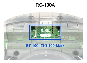 Position of the BT110 bluetooth module on a RC110A remote control