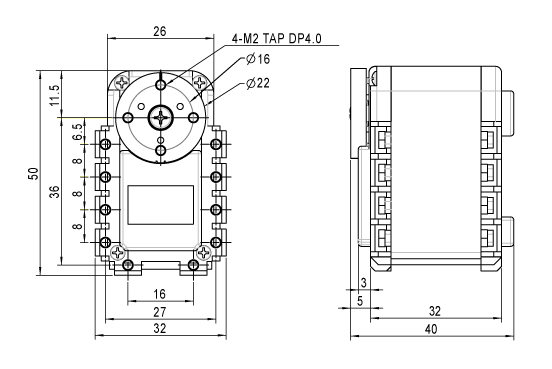 Dimensions of the Dynamixel MX-12W actuator
