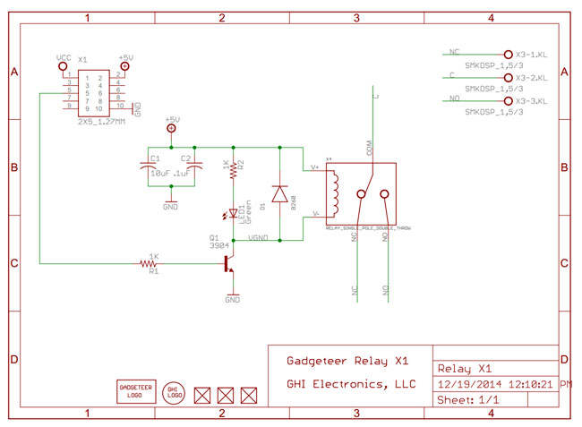 Gadgeteer Relay X1 2.0 reference schematic