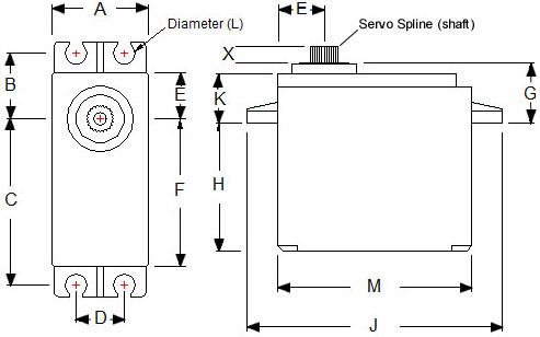 Dimensions of the HS311 servo