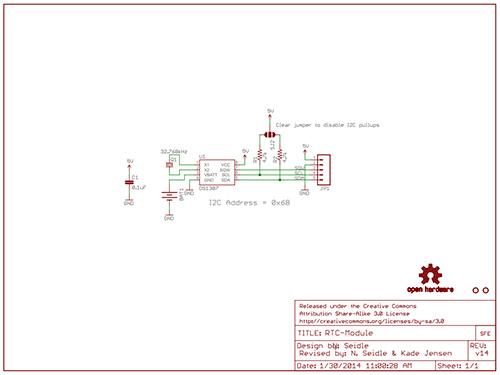 Schematische Darstellung des Arduino Real Time Clock-Moduls