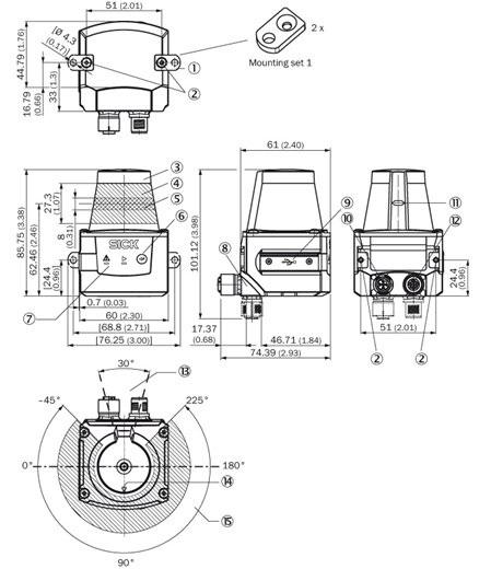 Abmessungen des Sick Laserscanner TIM551