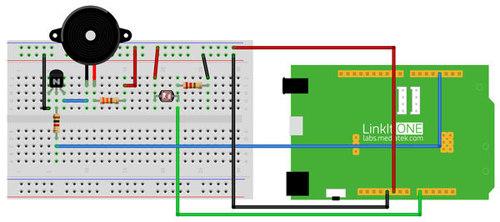 Example of a circuit created using the SideKick Basic Kit for LinkIt ONE – Lesson 8: Light Sensor