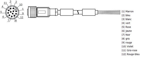 m12 input  output cable with 12 pins for lms511  5m