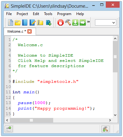 simpleIDE to program the microcontroller Propeller of the ActivityBot