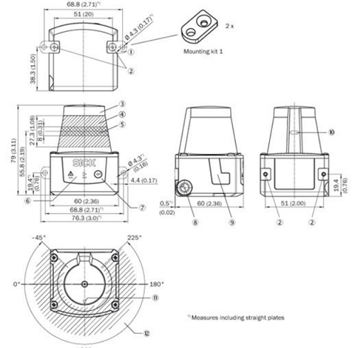 Abmessungen des Sick Laserscanner TIM310