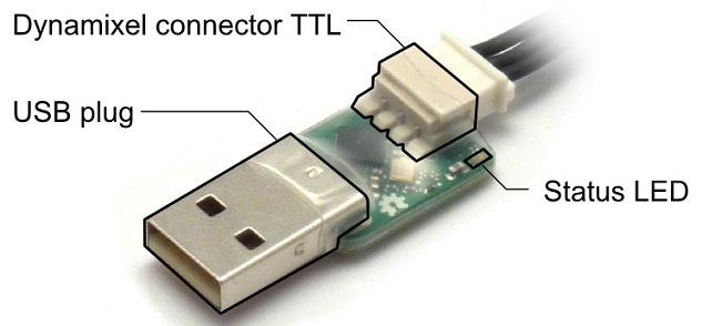 USB2AX USB-Stecker zur Programmierung von Dynamixel Servomotoren